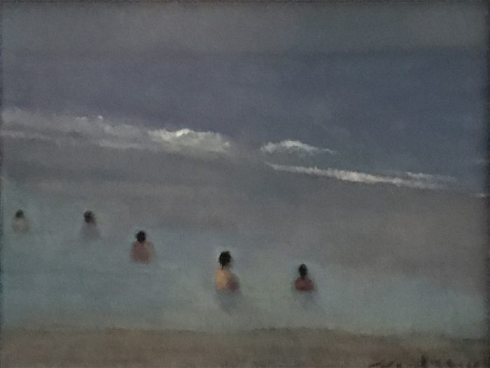 Newberry, Florida Bathers, 2005, oil on panel, 9x12""