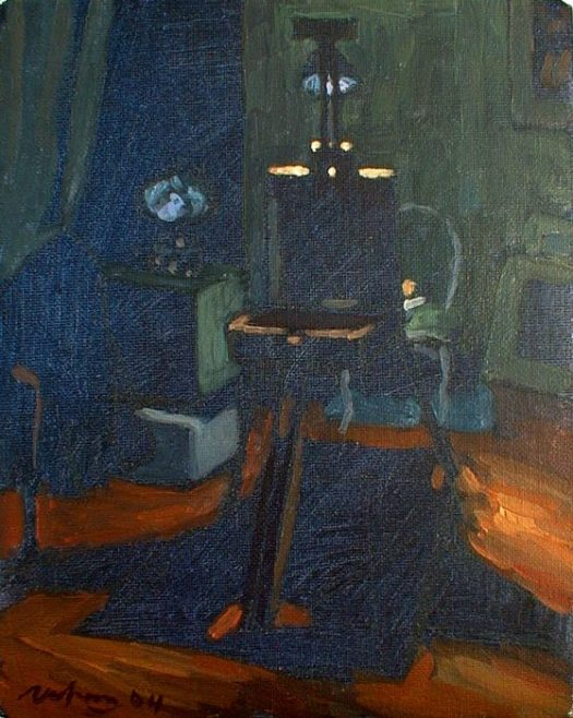 Newberry, Easel by Night, 2004, acrylic on panel, 12x9""