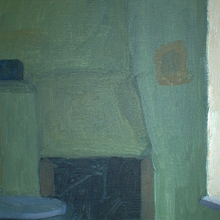 Newberry, Rhodes Fireplace, 1997, acrylic on panel, 12x9""