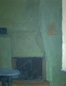 "Newberry, Rhodes Fireplace, 1997, acrylic on panel, 12x9"""