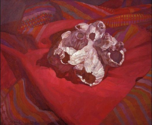 Newberry, Coral on Red, 2010, oil on canvas, 18x24""