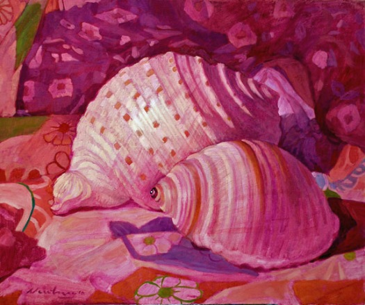 Newberry, Shells Magenta, 2010, oil on canvas, 18x24""