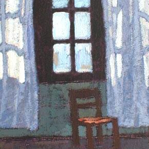 Newberry, A Chair Under a Window, 1997, acrylic on panel, 10x8""