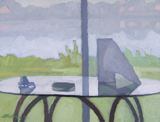 Newberry, Sun Room Still Life, 2004, oil on panel, 9x12""