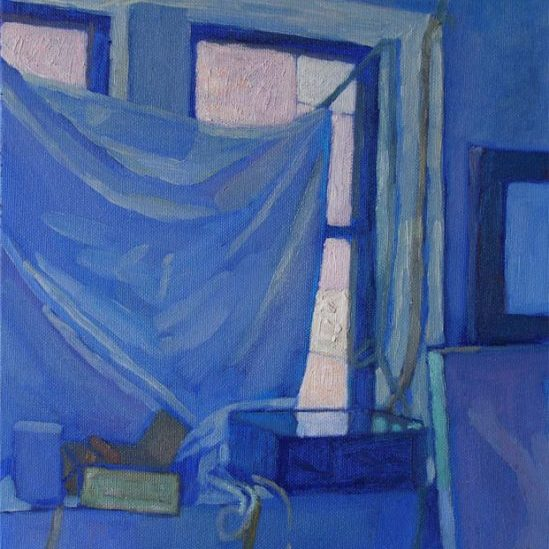 Newberry, Williamsburg Loft Blue, 2007, oil on panel, 12x9""