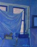 "Newberry, Williamsburg Loft Blue, 2007, oil on panel, 12x9"""