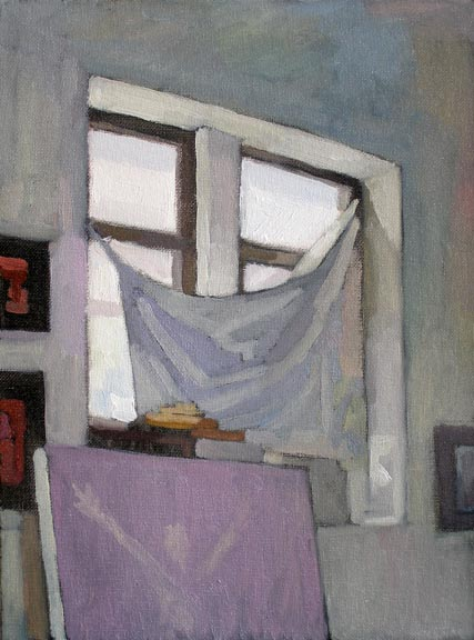 Newberry, Williamsburg Loft Gray, 2007, oil on panel, 12x9""