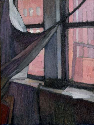 Newberry, Williamsburg Loft Scarlet, 2007, oil on panel, 12x9""