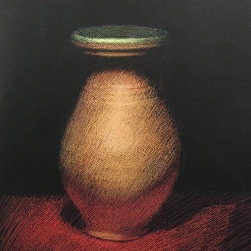 "Newberry, Ceramic Vase with a Green Lip, pastel, 24x18"""