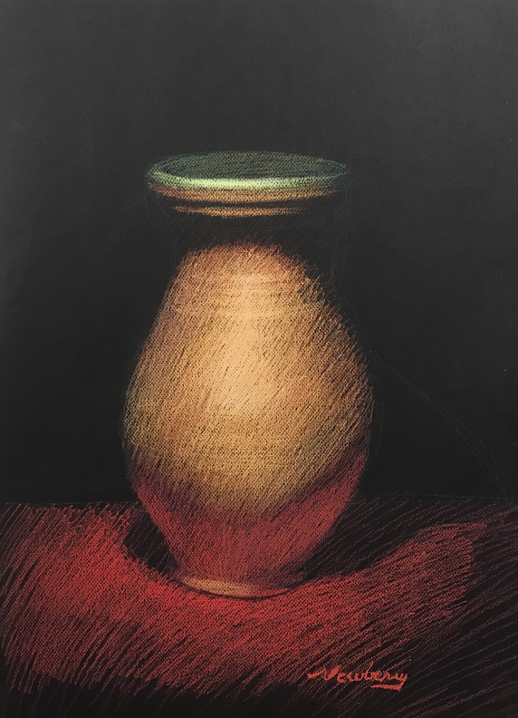 Newberry, Ceramic Vase with a Green Lip, pastel, 24x18""