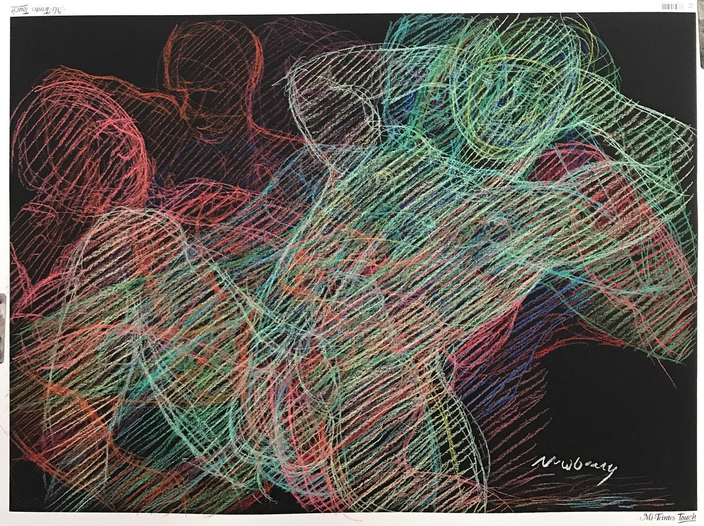 Newberry, Nude Reclining, pastel on black paper, 20x30""