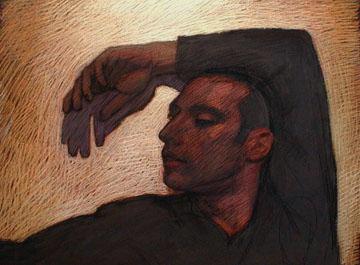 "Newberry, Mario, 2001, pastel on dark paper, 19x25"""