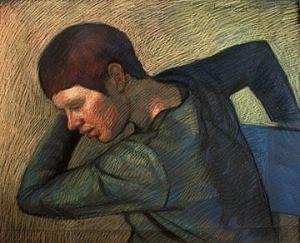 "Newberry, Suzana, 2001, pastel on dark paper, 19x25"""