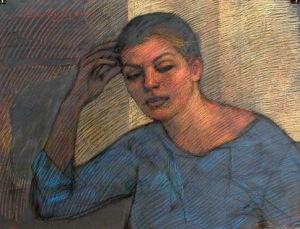 "Newberry, Valia, 2001, pastel on dark paper, 19x25"""