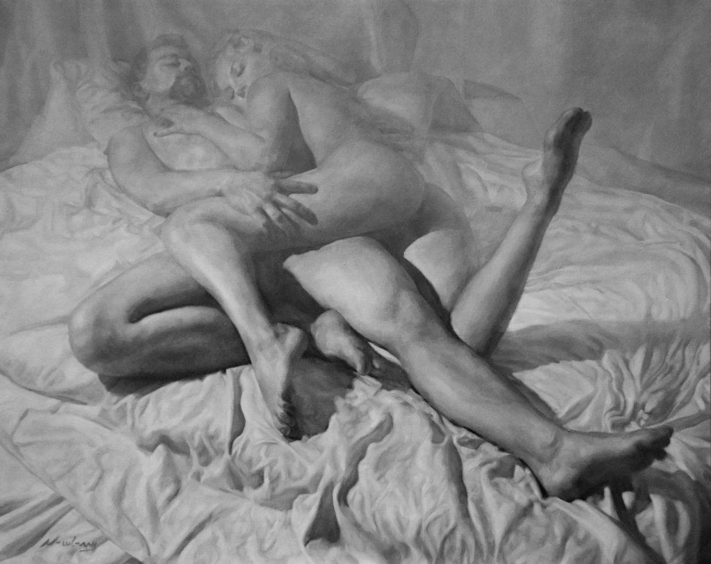 Newberry, Arabesque Hetero Couple, oil on linen, 48x60""