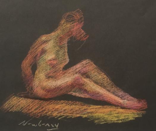 "Newberry, Seating Female, 1986, pastel on dark paper, 13x18"""