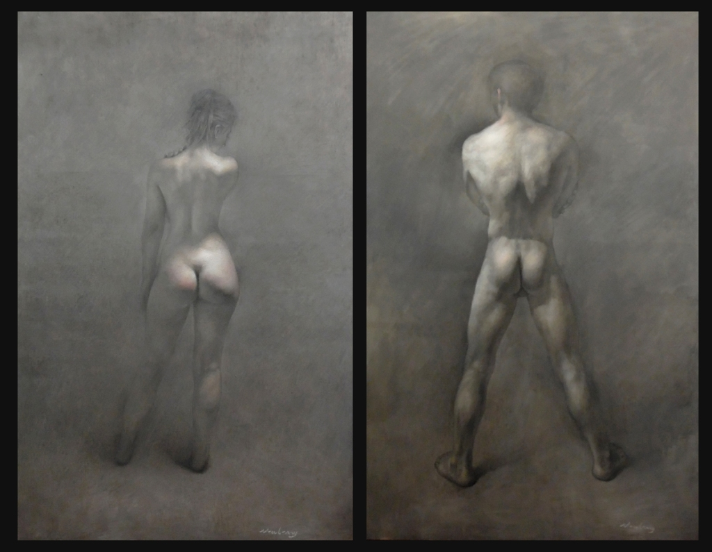 Newberry, Adam and Eve Diptych, oil on linen, 72x92""