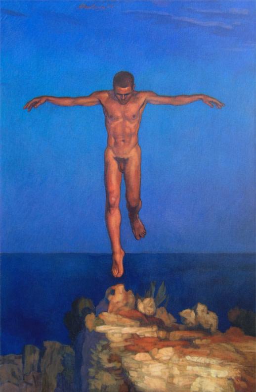 """Newberry, Icarus Landing, 2000, acrylic on linen, 55x36"""""""