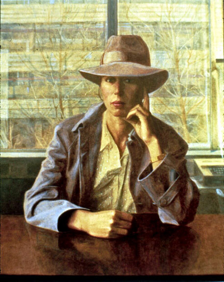 Newberry, Lynia Wearing a Hat, 1981, oil on linen, 36x28""