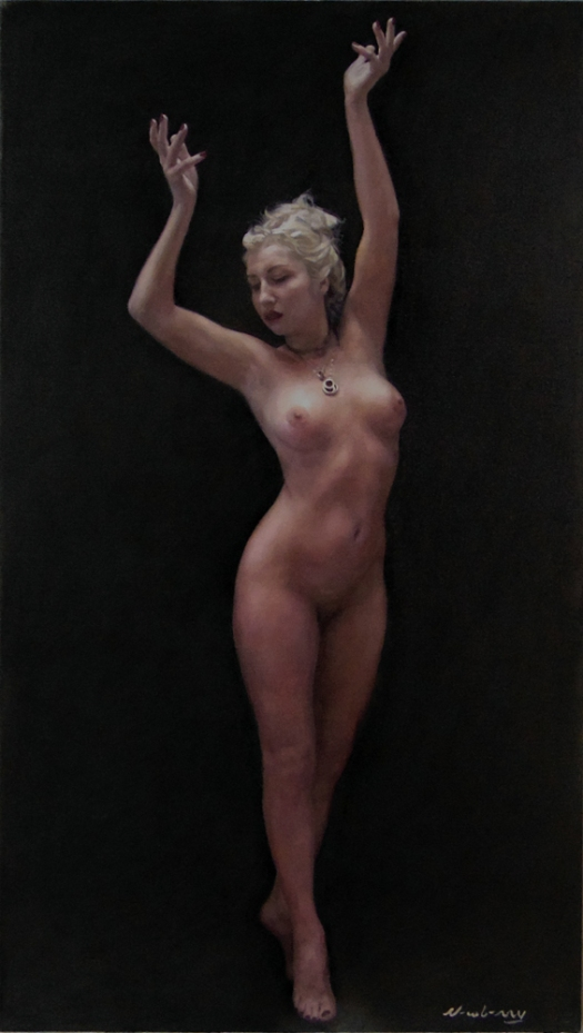 Newberry, Reaching for the High Note, 2018, oil on linen, 46x26""
