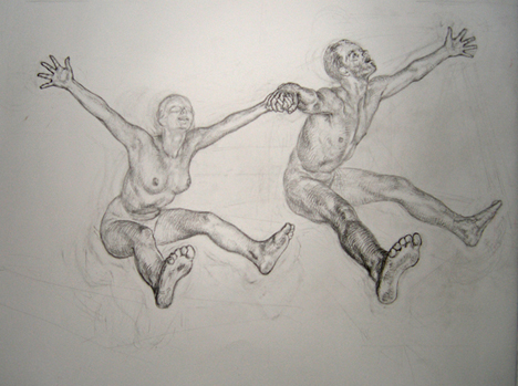 Newberry, Study for the Lovers Jumping, 2003, graphite on Rives BFK, 13x18""