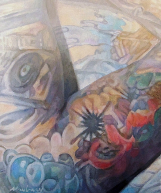 "Newberry, Tats 3, 2017, oil on canvas, 24x20"""