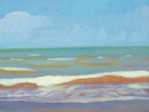 "Newberry, Orange Wave, 2005, oil on panel, 9x12"""