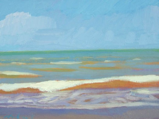 Newberry, Orange Wave, 2005, oil on panel, 9x12""