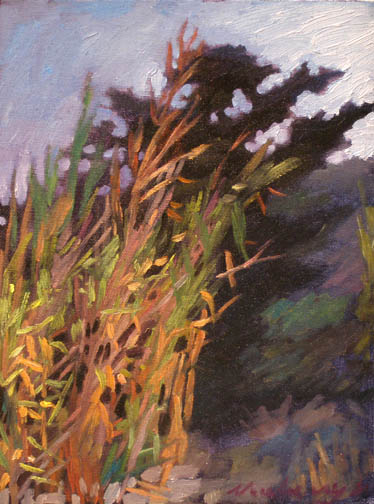 Newberry, Rhodes Bamboo, 2008, oil on panel, 12x9""