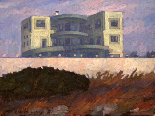 Newberry, Rhodes Home, 2008, oil on panel, 9x12""