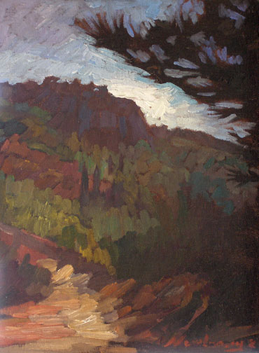 Newberry, Pines Path, 2008, oil on panel, 12x9""