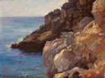 "Newberry, Rhodes Rocks 2, 2008, oil on panel, 9x12"""