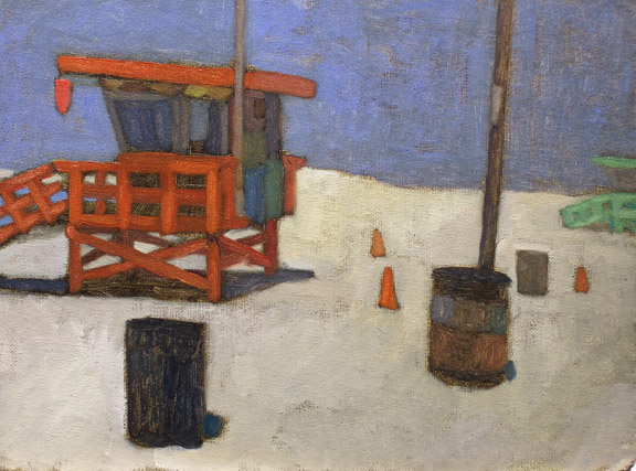 Newberry, Venus Beach Lifeguard Station, 2010, oil on panel, 9x12""