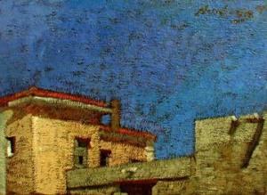 "Newberry, Rhodes Bedroom View, 1998, acrylic on panel, 9x12"""
