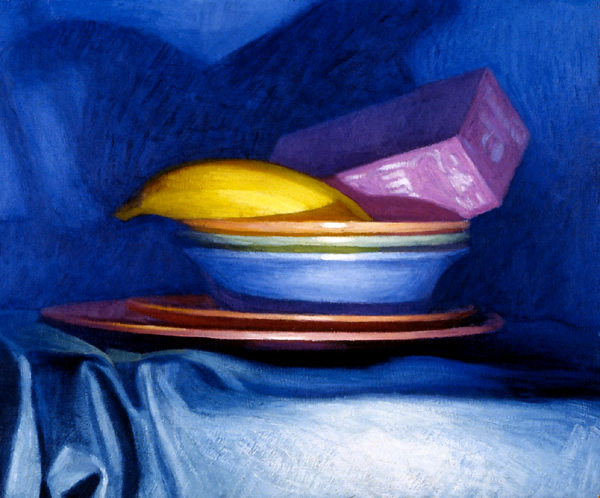 Newberry, Bowls Tea and Banana, 1993, oil on panel, 9x12""