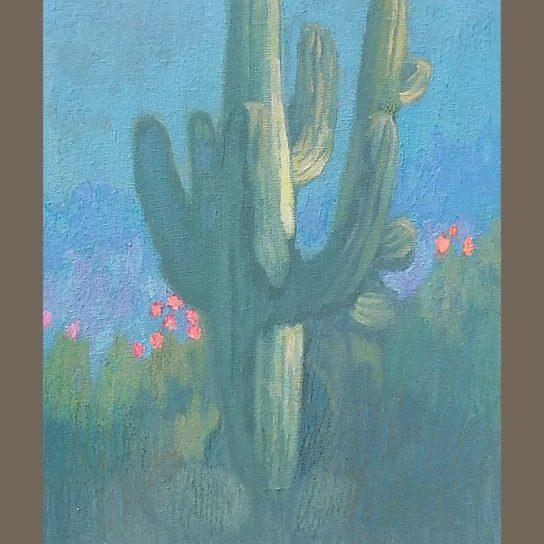 """Newberry, Cactus, 2017, oil on panel, 12x9"""""""