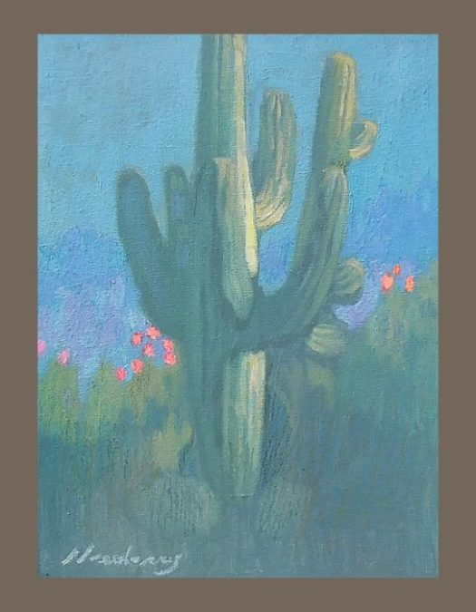 Newberry, Cactus, 2017, oil on panel, 12x9""