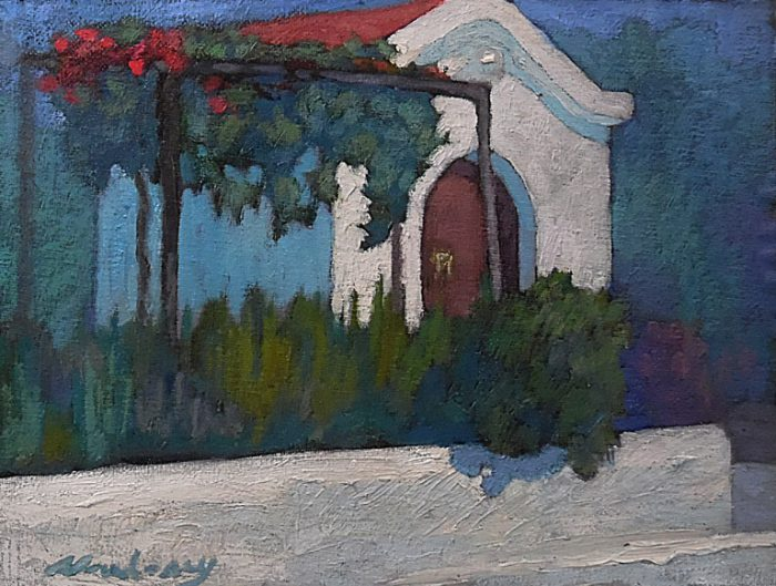 Newberry, Greek Church, 2008, oil on panel, 9x12""