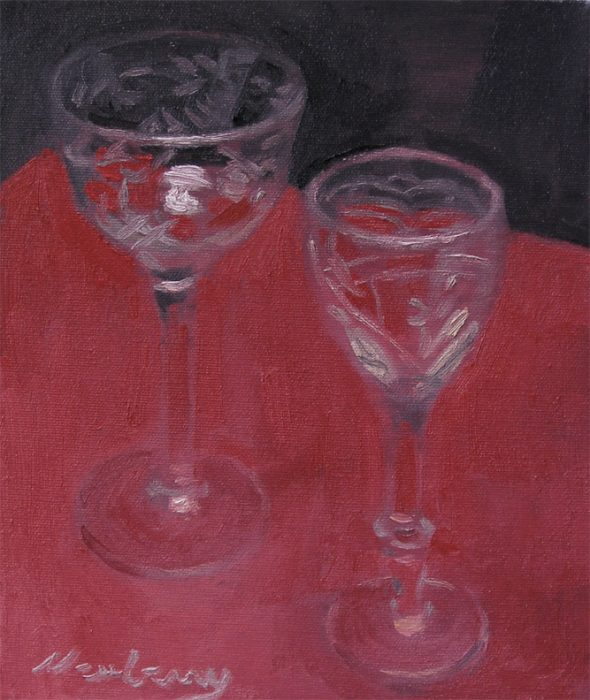 Newberry, Two Cut Glasses, 2017, oil on panel, 12x9""