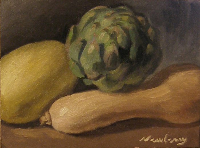 Newberry, Artichoke Between Squashes, 2017, oil on panel, 9x12""