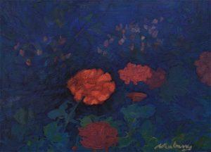 "Newberry, Geraniums, 2008, oil on panel, 9x12"""