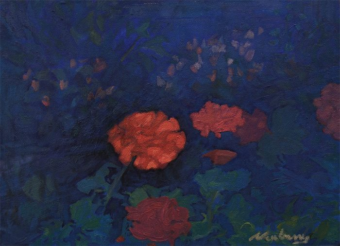 Newberry, Geraniums, 2008, oil on panel, 9x12""