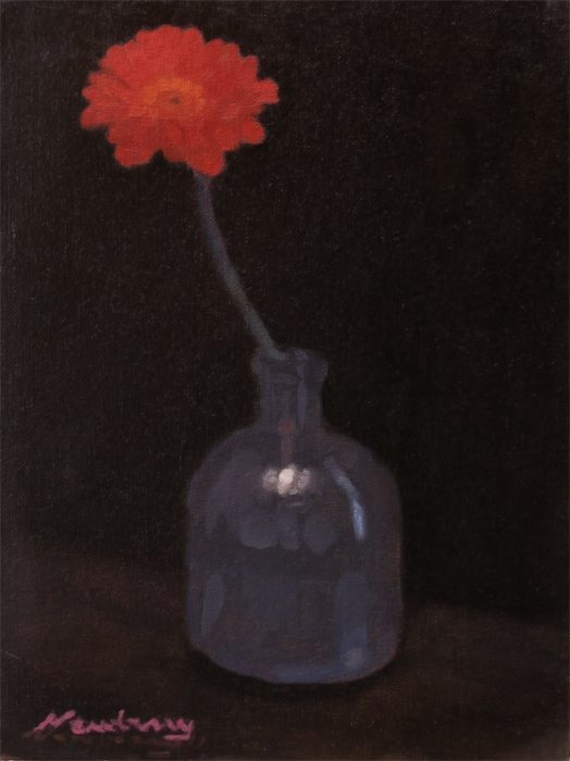 Newberry, Red Red Gerbera, 2016, oil on canvas, 12x9""