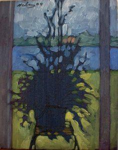 """Newberry, Sun Room Herbs, 2004, oil on panel, 12x9"""""""