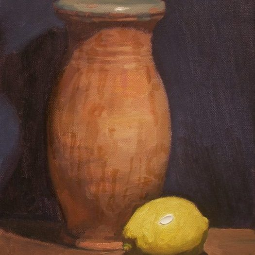 Newberry, Jar and Lemon, 2012, oil on canvas, 12x9""