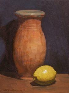 "Newberry, Jar and Lemon, 2012, oil on canvas, 12x9"""