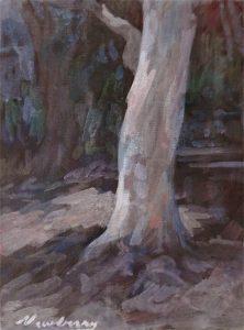 "Newberry, Eucalyptus Santa Monica, acrylic on panel, 12x9"""