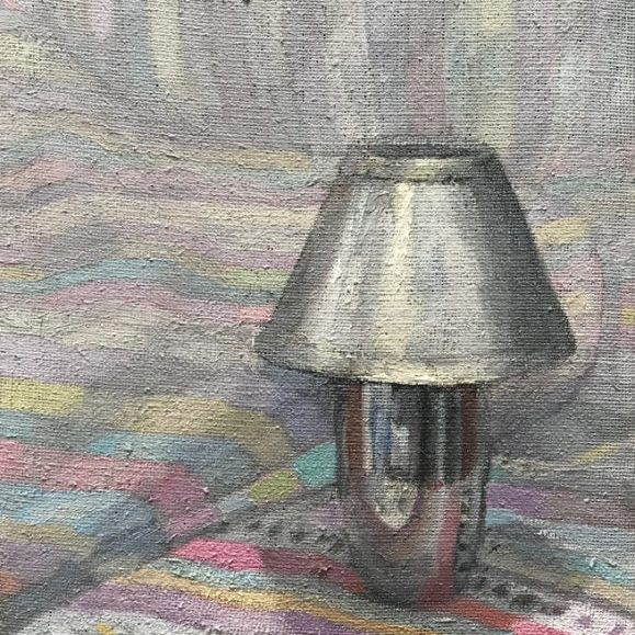 Newberry, Lamp with Red Shadows, oil on linen, 10x8""