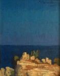 "Newberry, Icarus Rock Rhodes, 1999, acrylic on panel, 12x9"""