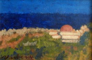 Newberry, Kalithea Domes 2, 1999, acrylic on panel, 8x10""